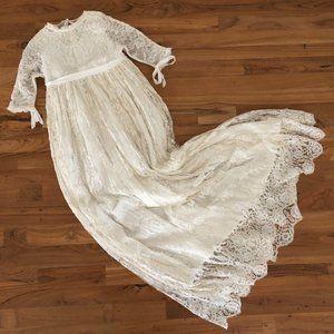 VINTAGE Girl's Cream Lace Tie Maxi Dress